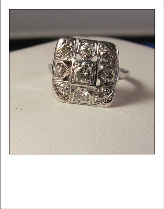 RESERVED FOR lsajna -- Art Deco Antique 14k .85 CT Large Square Dinner Ring