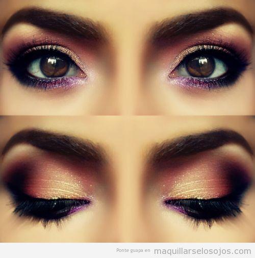Maquillaje de ojos en tonos rosas, pétalos de rosa, elegante