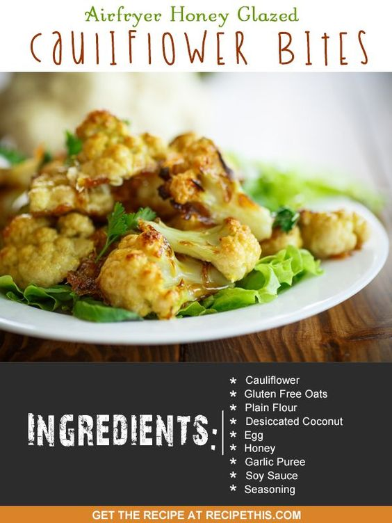 ... recipes | Airfryer Honey Glazed Cauliflower Bites from RecipeThis.com