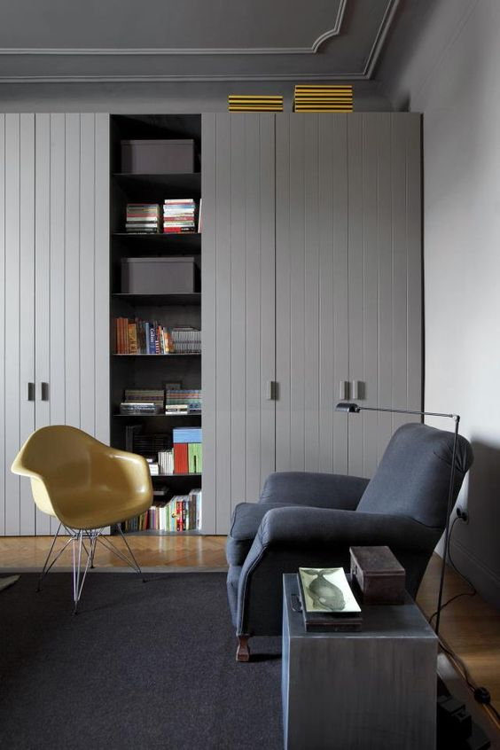 fitted wardrobe idea (Elle Decoration Magazine) for high ceilings like ours • cool greys