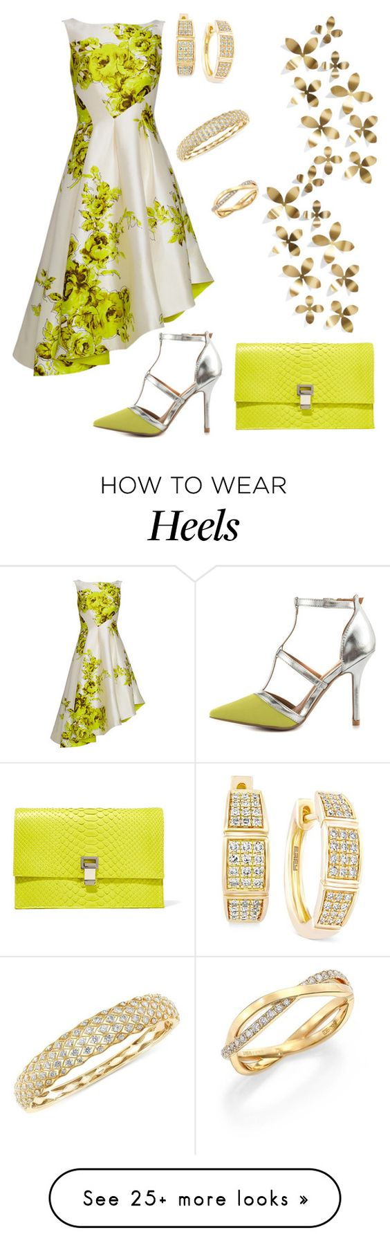 """""""Lime."""" by schenonek on Polyvore featuring Lela Rose, Qupid, Proenza Schouler, Effy Jewelry, De Beers, Umbra, women's clothing, women's fashion, women and female"""
