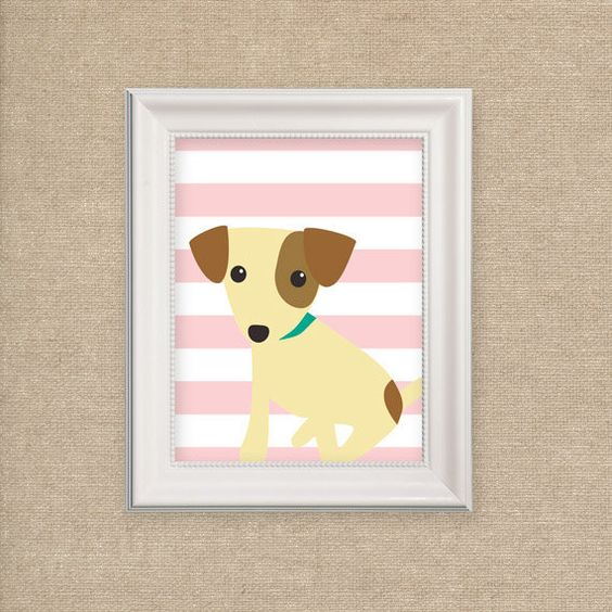Nursery Art Print - Dog Print for Nursery on Pink Stripes - Puppy Art Print