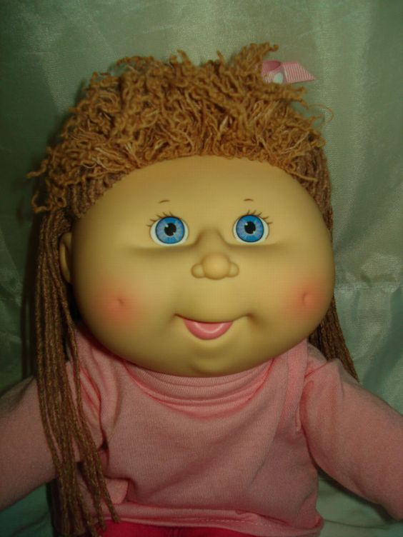 vintage 1991 crimp n curl cabbage patch kid girl doll tan hair blue