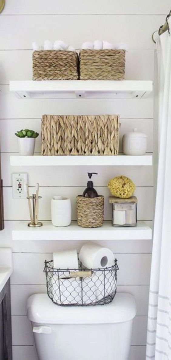 Small Bathroom Organization Ideas - Storage Solutions for Small Bathrooms ST1122019 DIY floating shelves for the bathroom - farmhouse bathroom decorating ideas with shiplap walls.  White rustic farmhouse bathroom ideas. #farmhousebathroom