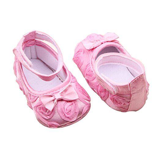 PIXNOR Prewalkers Schuhe mit Rosen Bowknot Decor für Baby-Mädchen (Pink) - http://on-line-kaufen.de/pixnor/pixnor-prewalkers-schuhe-mit-rosen-bowknot-decor