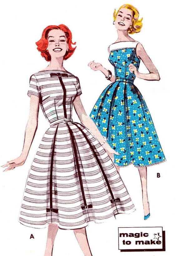 1950s Vintage Dress Pattern Butterick 9602 Full Skirt Day or Evening Dress Womens Vintage Sewing Pattern