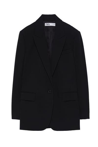 ZARA - Female - Buttoned oversized blazer - Black - Xl