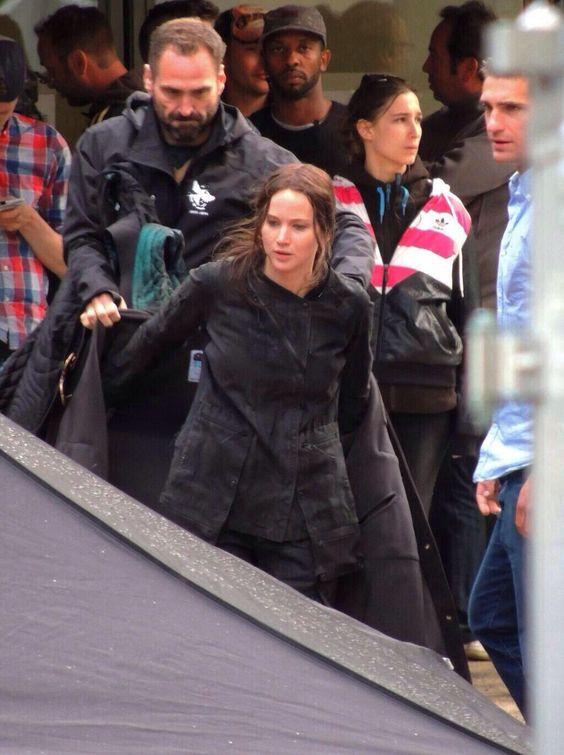 Jennifer Lawrence on the set of Mockingjay