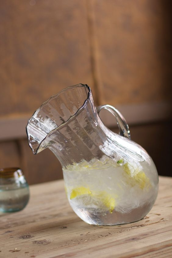 Ribbed Tilted Glass Pitcher
