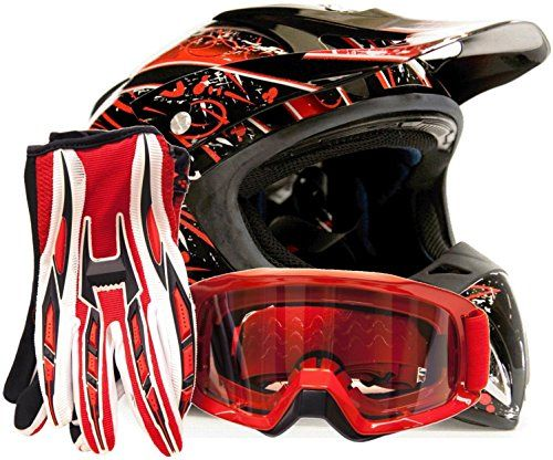 Adult Gloss Pink Helmet Motocross Combo Pink Black Gloves Goggles OffRoad DOT