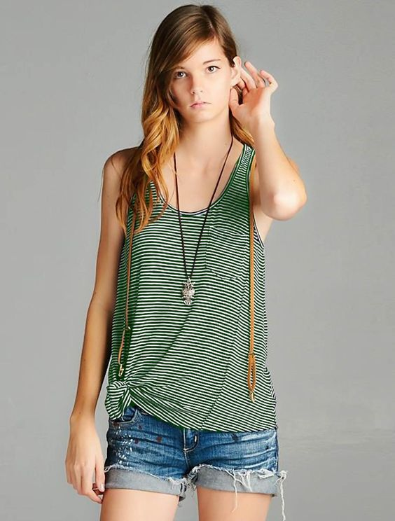 Striped Up Olive Tank