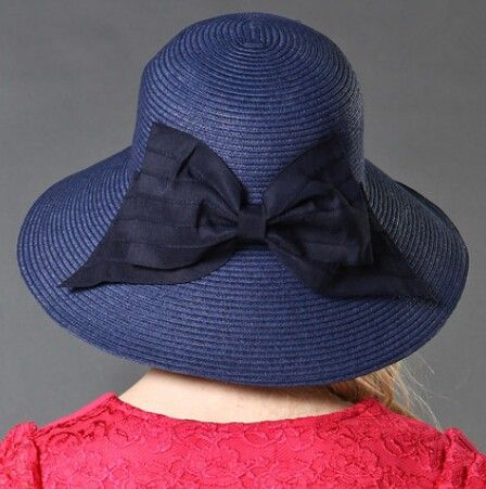 Bow decoration wide brim straw hat for women UV packable