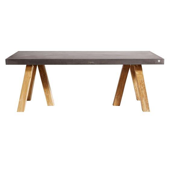 MUUBS - Spisebord - Rockefeller 200 cm - Fiberbeton lysegrå - Teak ...
