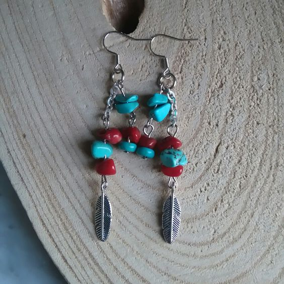 #oorbellen #earrings #bohemian #ibizastyle #turquoise #koraal #coral  www.facebook.nl/kikakoscreaties
