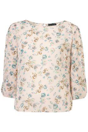 Rose Print Bow Sleeve Blouse