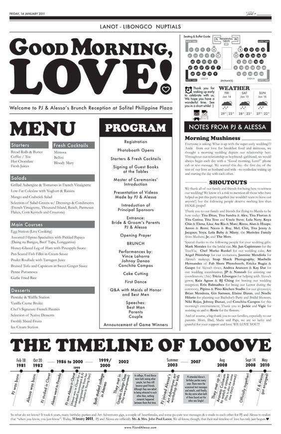 Newspaper Wedding Program  EcoWedding Ideas