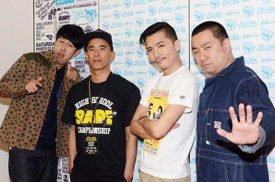 「スカパー!オリジナル番組 BAZOOKA!!! 高校生RAP選手権 全国大会」に出演する(左から)小籔千豊、真木蔵人、ZEEBRA、レイザーラモンRG。