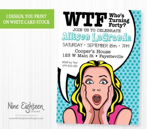 1000 Images About Funny Birthday Party Invitations On: Funny 40th Birthday Party Invitation, Pop Art Comic Book