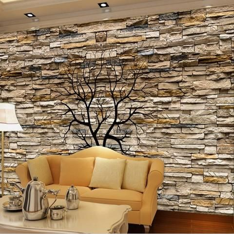 3d Brown Stone Wall Photo Wallpaper Mural For Home Or Business Stone Walls Interior 3d Stone Wall Stone Wallpaper