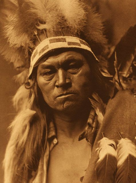 Cayuse Warrior (1910) from The North American Indian Volume 8. Photograph by Edward S. Curtis: