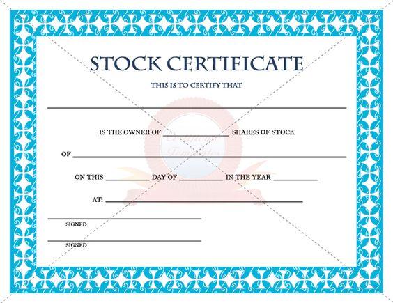 Stock Certificate Template STOCK CERTIFICATE TEMPLATES - stock certificate template