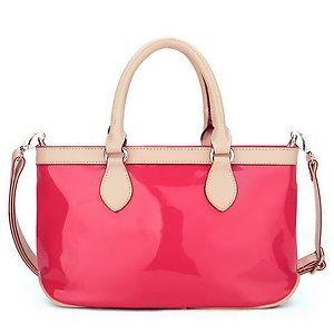 Ital. Handtasche Damentasche Umhängetasche Ledertasche PU Lack Rosa