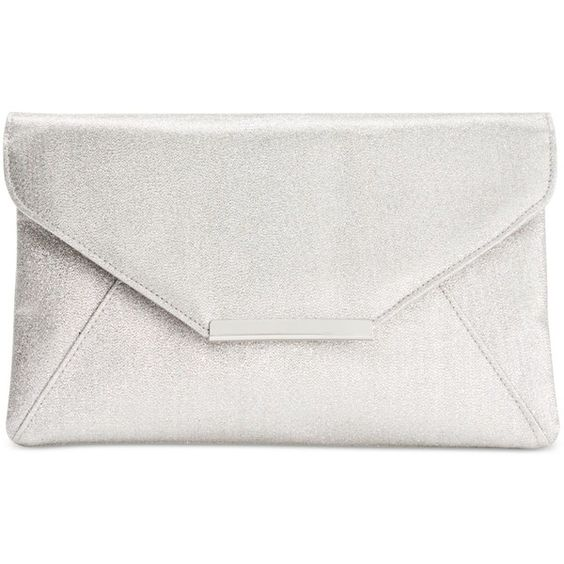 Style & co. Lily Subtle Glitter Envelope Clutch ($30) ❤ liked on Polyvore featuring bags, handbags, clutches, borse, silver, white clutches, silver clutches, special occasion clutches, white envelope clutch bag and evening handbags