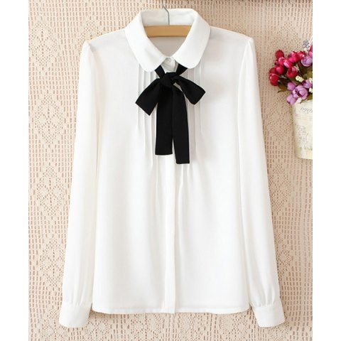 Solid Color Pleated Long Sleeve Slimming Chiffon Women's Blouse