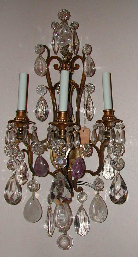 Exquisite Pair of French Rock Crystal & Rock Amethyst Sconces