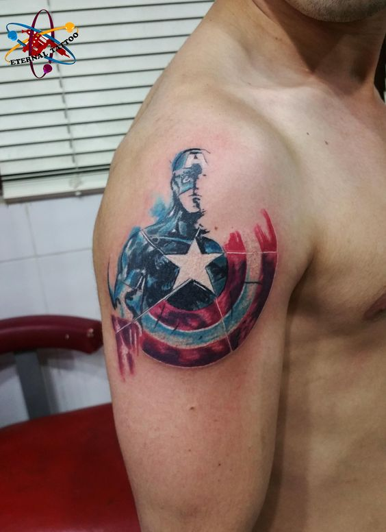 captain america tattoo - visit to grab an unforgettable cool 3D Super Hero T-Shirt!