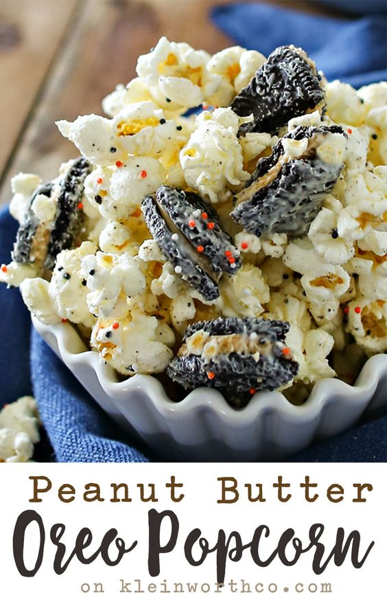 Peanut Butter Oreo Popcorn is the perfect easy dessert recipe for peanut butter lovers out there. So simple to make in just a couple minutes. So tasty too!