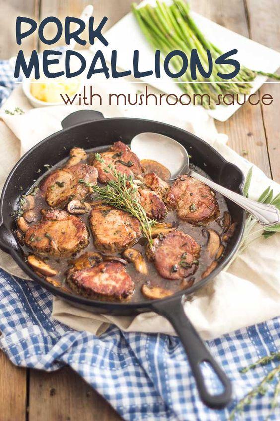 Pork Medallions with Mushroom Sauce | thehealthyfoodie.com