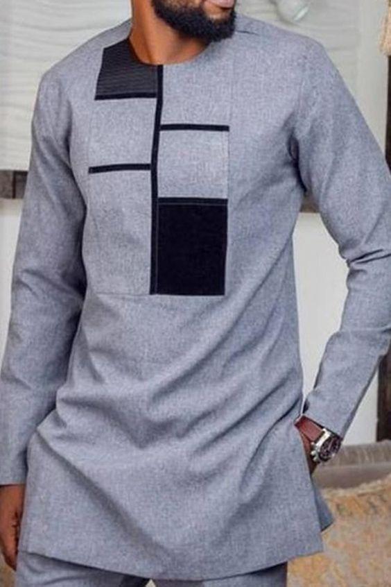 Round Neck Color Block Fashion Spring Men's Shirt