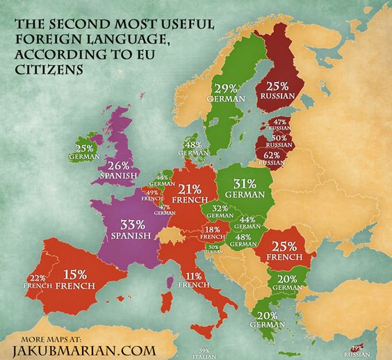 Second Most Useful Languages in Europe – English Map of Europe