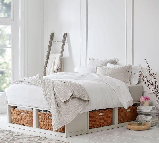 Stratton Storage Platform Bed With Baskets Bed Frame With Drawers Platform Bed With Storage Bed Storage