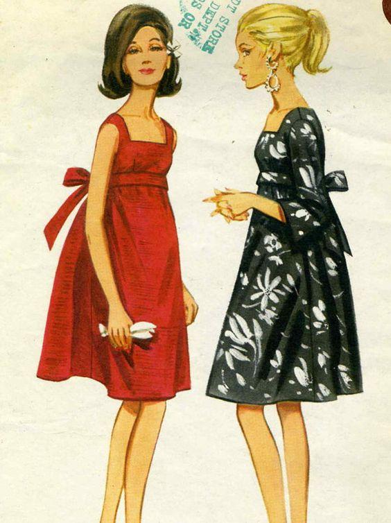 Vintage 60s Butterick 4235 Cut Misses Empire Waist Tent