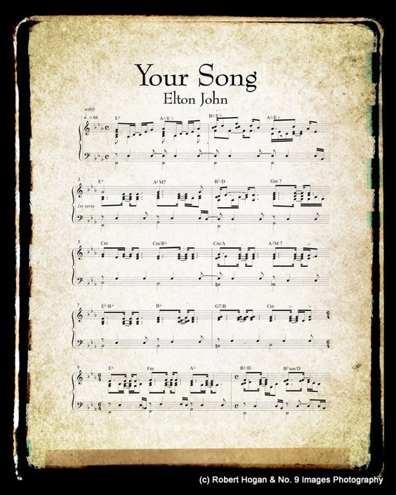 Your Song Sheet Music And Lyrics Elton John Music Art Print 16x20 Gift Idea 40 00 Via Etsy Lyrics To Live By Song Sheet Songs