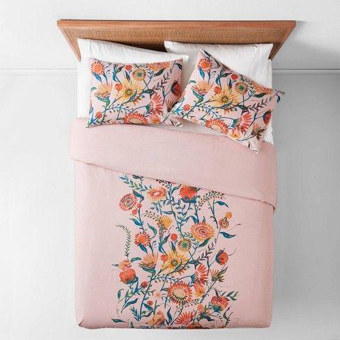 Full Queen Placed Floral Duvet Pillow Sham Set Blush Opalhouse Floral Duvet Pillow Shams Floral Bedding Sets
