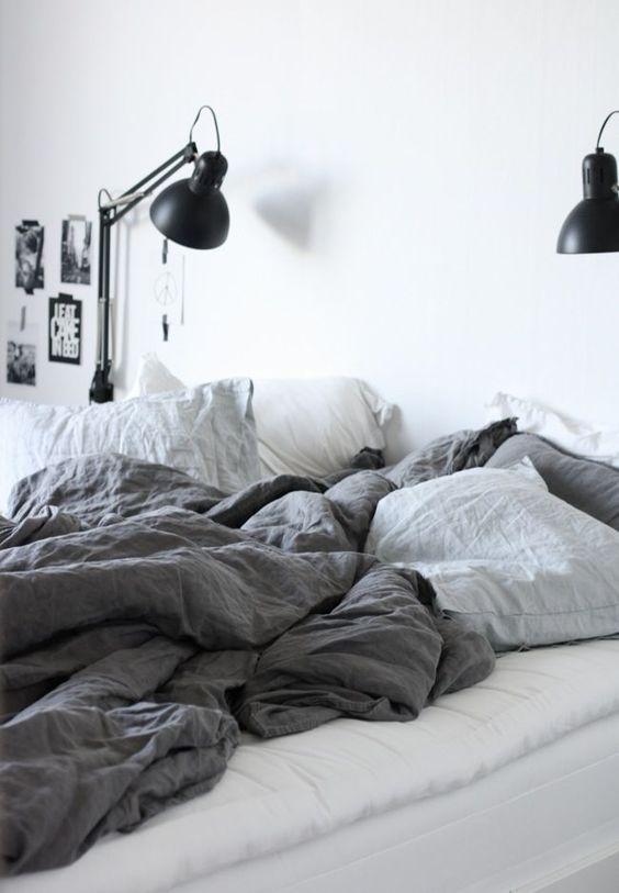 wall lamp + sheets + linen + bed + grey