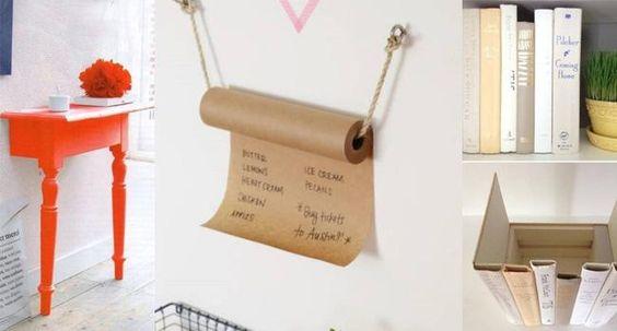 Rolo de papel de embrulho como porta-recados ou espaço para fazer sua lista de mercado