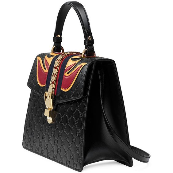 Gucci Sylvie Leather Top-Handle Satchel Bag ❤ liked on Polyvore featuring bags, handbags, buckle purses, gucci, gucci handbags, satchel purses and gucci bags