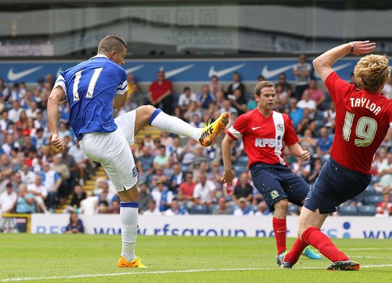 27 July 2013 Kevin Mirallas scores against Blackburn in a pre season friendly