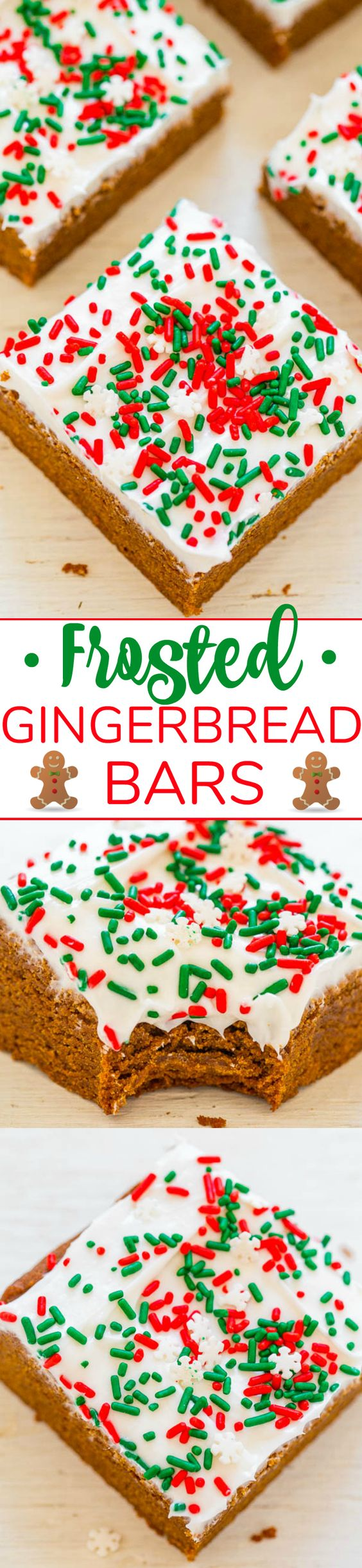 Gingerbread Bars with Cream Cheese Frosting – Gingerbread bars are so much FASTER AND EASIER than making gingerbread cookies!! The sprinkles and tangy cream cheese frosting will put everyone in a festive mood!!
