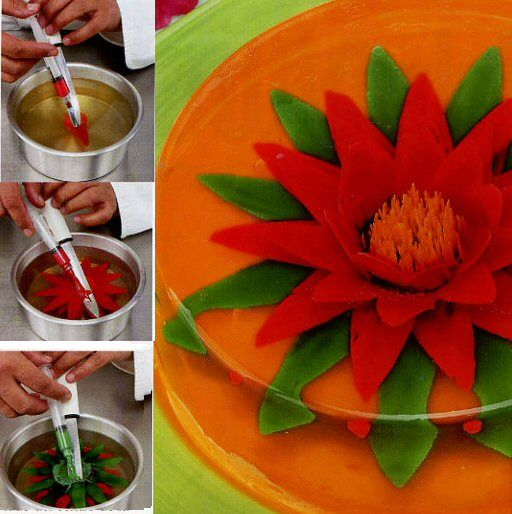 Goddess Food: Gelatinas - making a jello flower iwth the help of syringes and a spoon