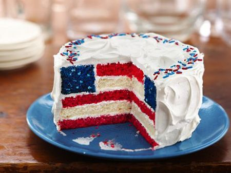 High-Flying Flag Cakes  Hands over our hearts, I promise pledging allegiance doesn't get more delicious than this!: Cake Recipe, July Cake, Flagcake, American Flag, 4Th Of July, Blue Cake, Red White, White Blue
