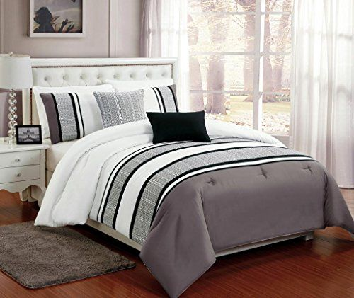 Beautiful 5 PC Grey , White and Black Comforter Bedding Set with Burnout Lace Design, Queen Size Legacy Decor http://www.amazon.com/dp/B00OBV7534/ref=cm_sw_r_pi_dp_C.6qub161B70Y