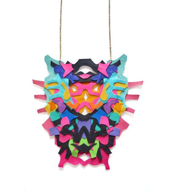 Neon Statement Necklace Rorschach Color Block por BooandBooFactory