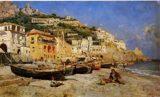.@BeaSalvemini  Vincenzo Caprile - Veduta di Amalfi con barche di pescatori
