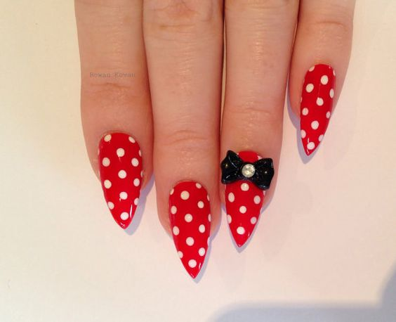Red Bow Stiletto nails Nail designs Nail art Nails by Rowaan96, £14.99