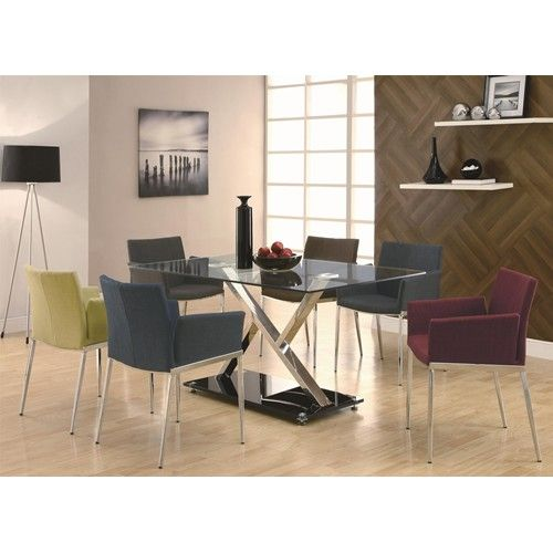Funky Dining Room Table And Chairs Dining 120 7 Piece Upholstered Table & Chair Set #contemporary